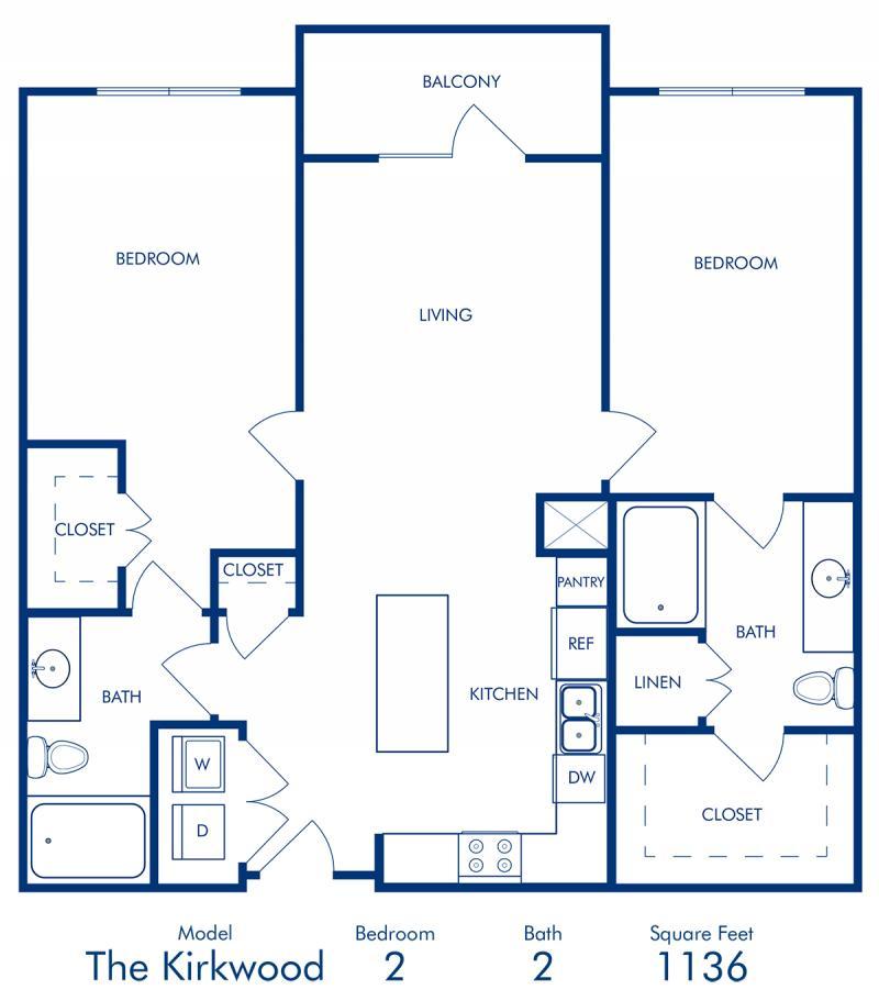 Two bedroom apartment at Camden Buckhead Square in Atlanta, GA