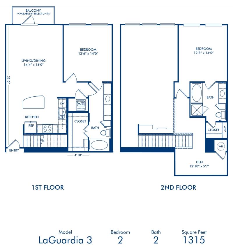 two bedroom apartment at camden belmont floor plan laguardia 3